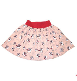Minirock, Jersey Rock, Drehrock, Mädchenrock, kleine Einhörner auf rosé