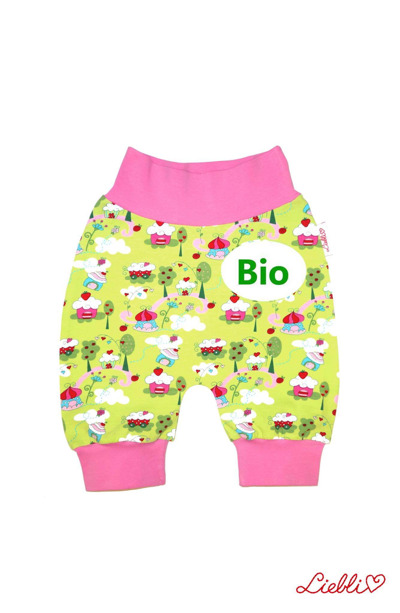 BIO Babyhose/ Pumphose, Muffins hellgrün rosa , 56, 62, 68