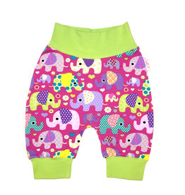 Babyhose / Pumphose Elefanten auf lila Gr. 56, 62, 68
