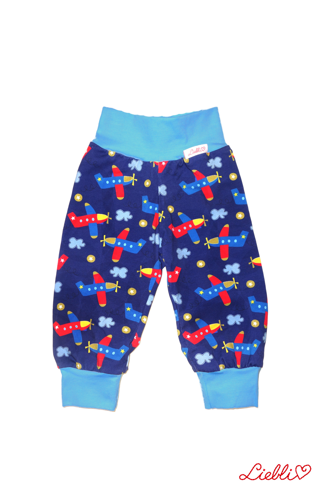 Kinderhose, Flugzeuge, Flieger, blau-türkis-rot