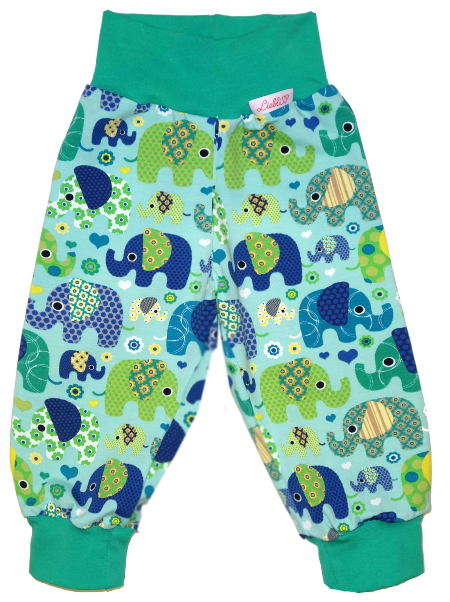 Kinderhose Elefanten grün