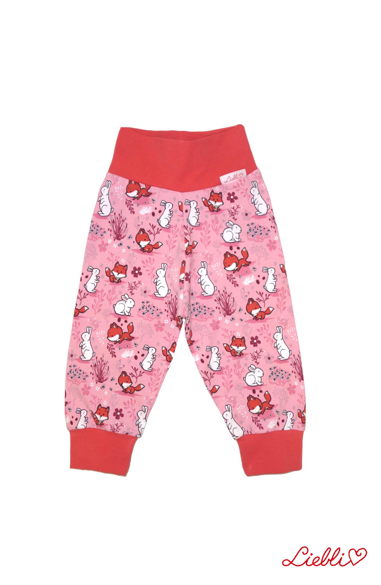 Kinderhose Fuchs und Hase auf rosa