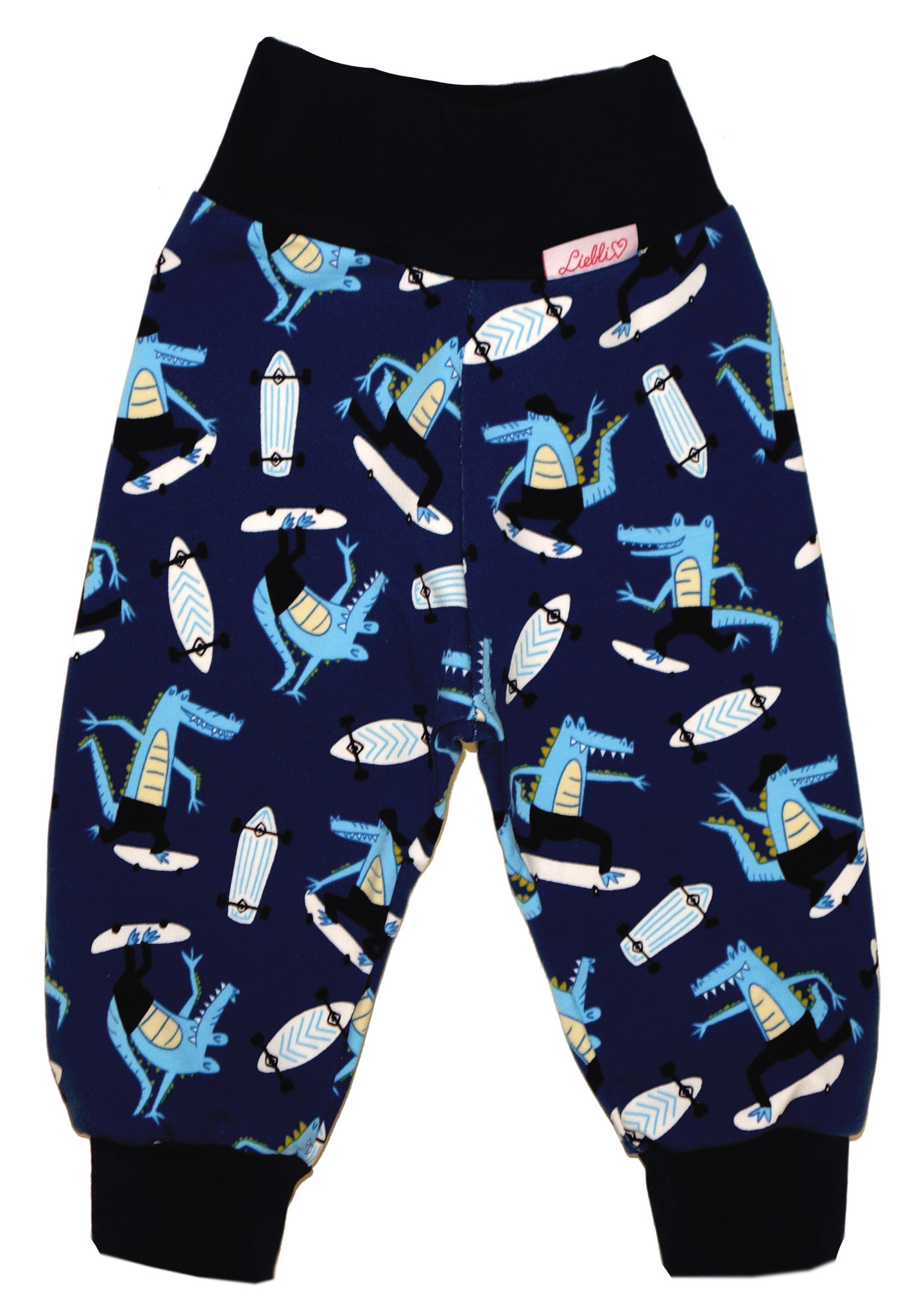 Kinderhose / Sweat-Hose, Krokodil auf Skateboard, dunkelblau
