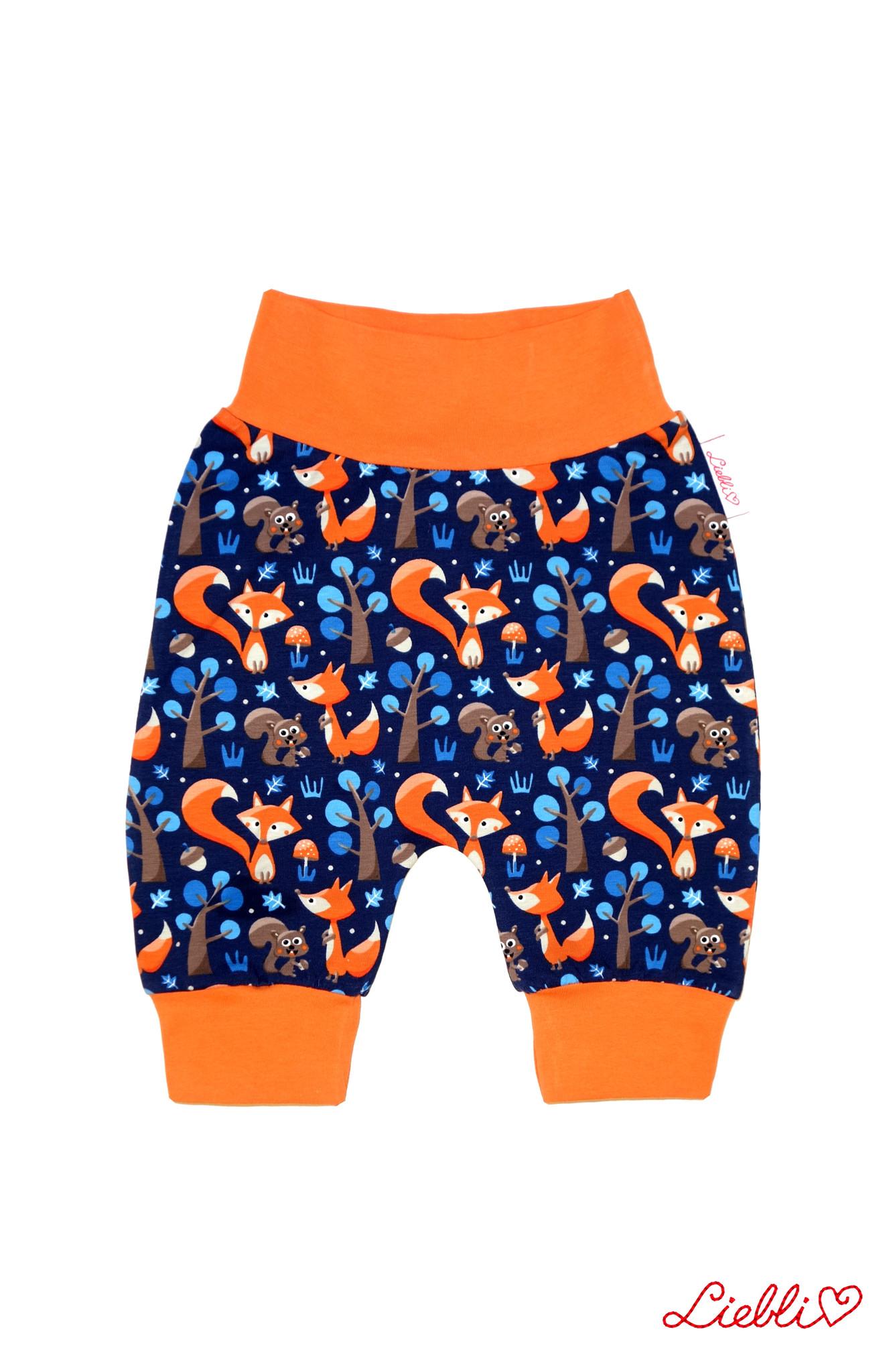 Babyhose / Pumphose, Fuchs mit Eichhörnchen dunkelblau orange