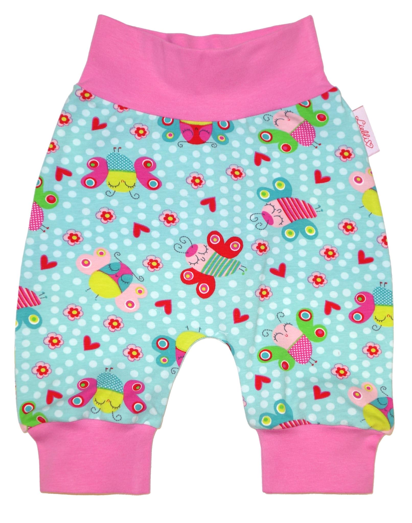 Babyhose / Pumphose, Schmetterlinge mint rosa