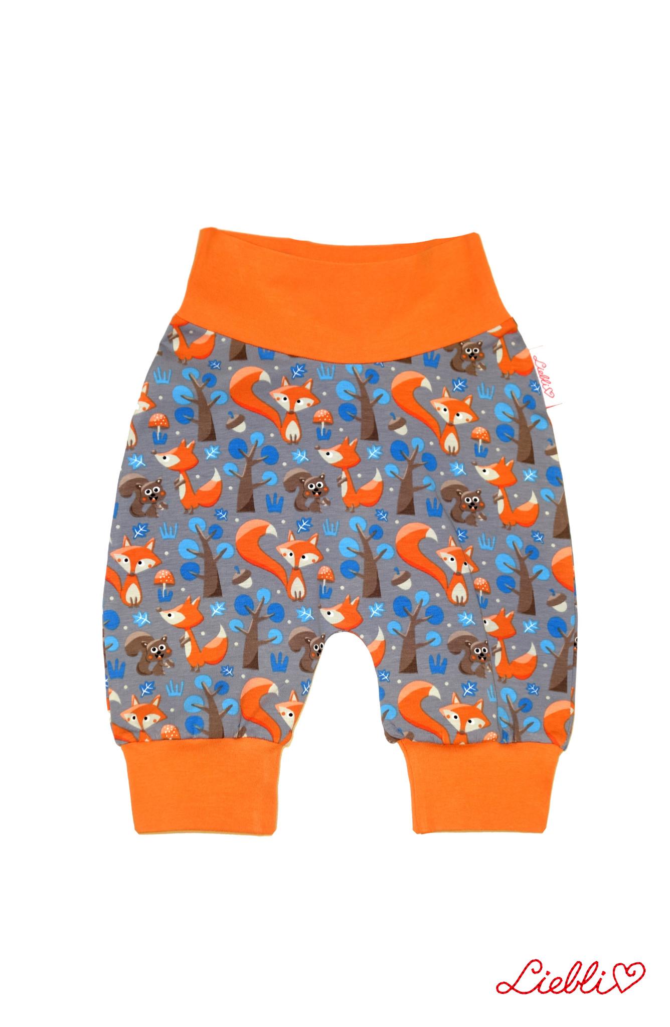 Babyhose / Pumphose, Fuchs und Eichhörnchen hellgrau orange