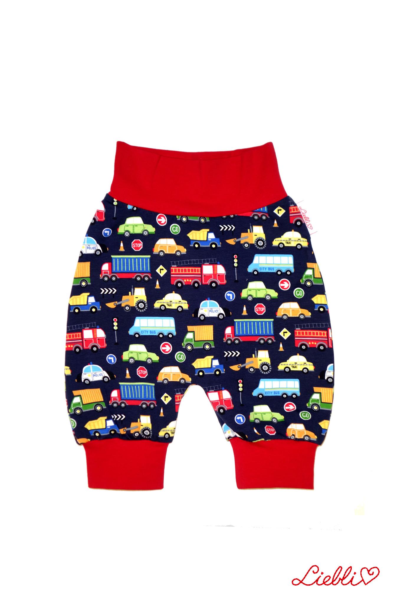Babyhose / Pumphose, Autos, Feuerwehr, Polizei auf dunkelblau