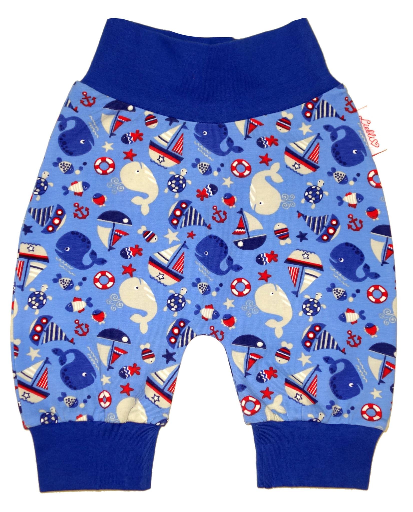 Babyhose / Pumphose, Wale und Schiffe blau