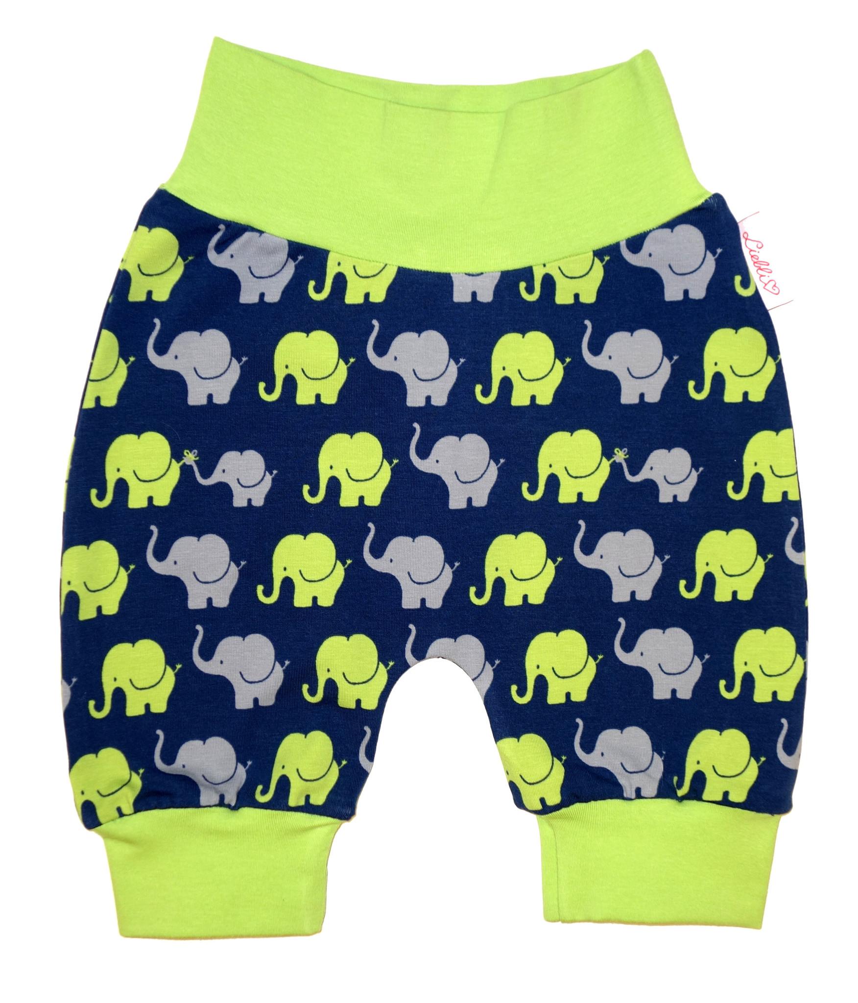 Babyhose / Pumphose, Elefanten dunkelblau grün grau