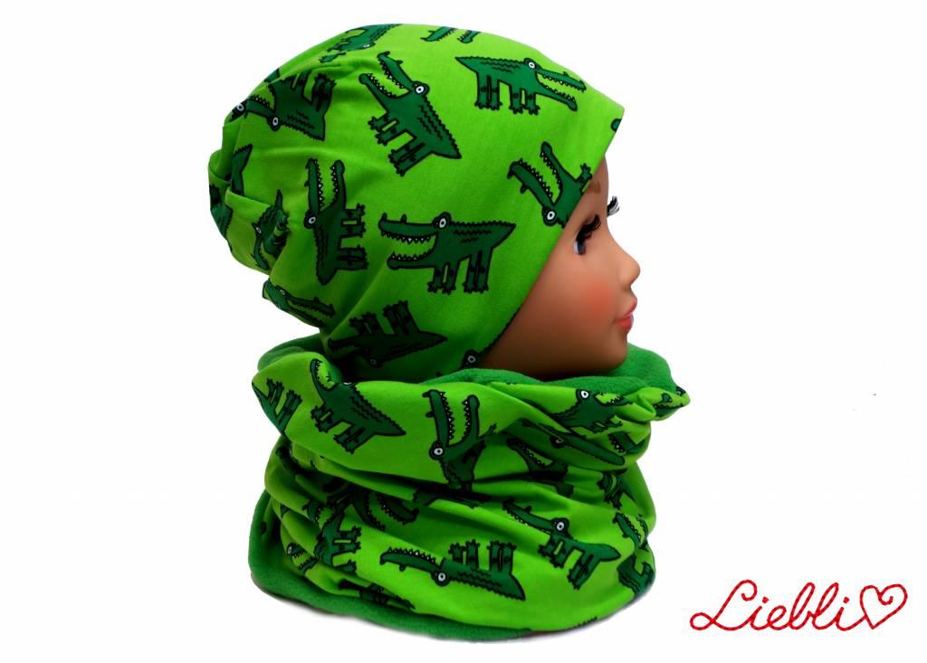 Kindermütze, Beanie Mütze, Krokodil grün, mit Baumwolle gefüttert