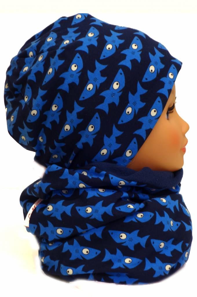 Übergangsmütze/Herbstmütze /Frühlingsmütze, Haie auf dunkelblau, für Kopfgrößen 38-56 cm