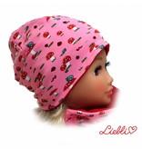 Kindermütze, Beanie Mütze, Fliegenpilz rosa, mit Baumwolle gefüttert