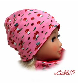 Kindermütze, Beanie Mütze, Fliegenpilz rosa