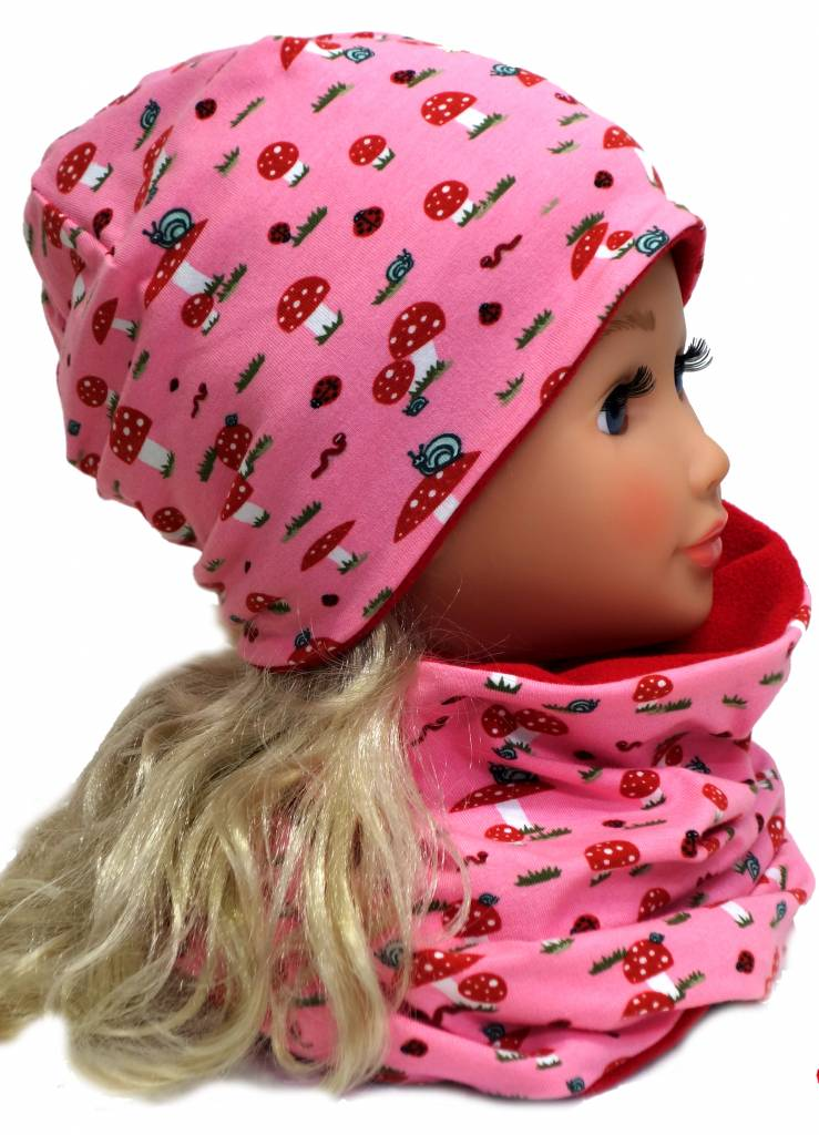 Übergangsmütze/Herbstmütze /Frühlingsmütze, Fliegenpilz rosa, für Kopfgrößen 38-56 cm
