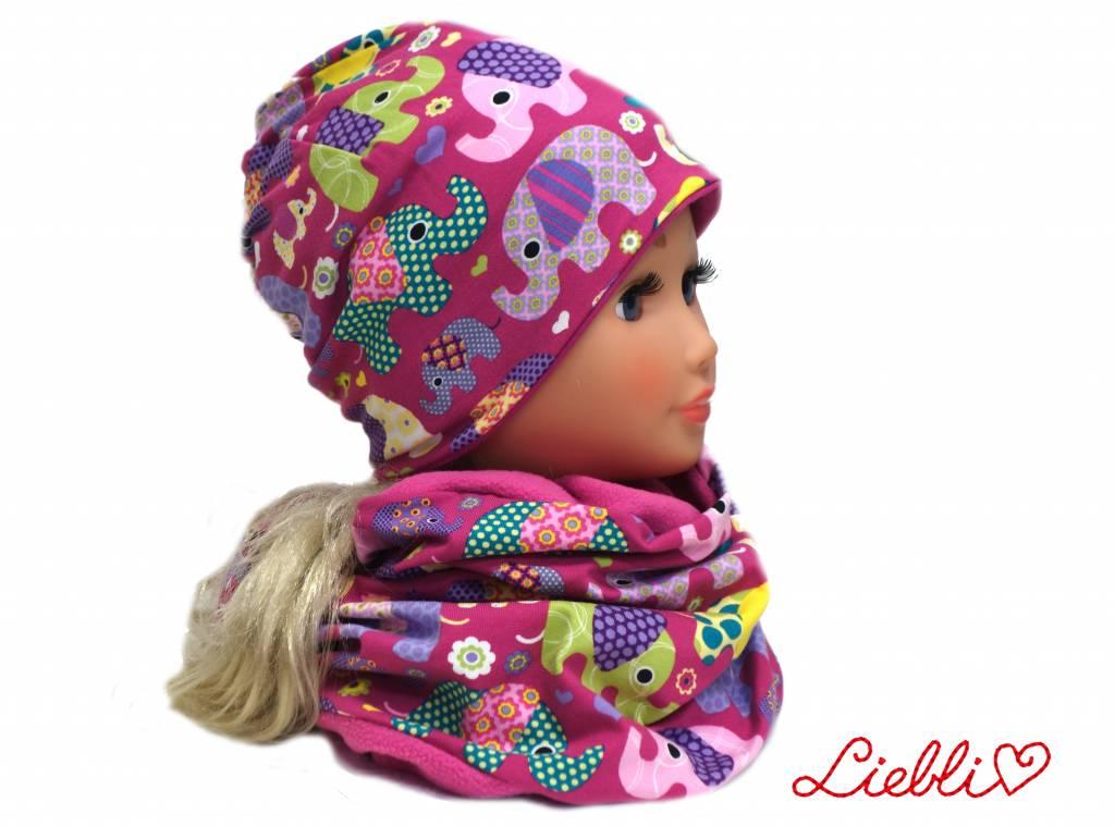 Übergangsmütze / Herbstmütze / Frühlingsmütze, Elefanten lila, für Kopfgrößen 38-56 cm