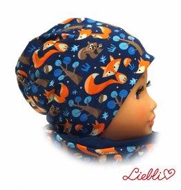Kindermütze, Beanie Mütze, Füchse auf dunkelblau