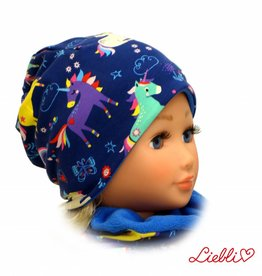 Kindermütze, Beanie Mütze, Einhörner blau