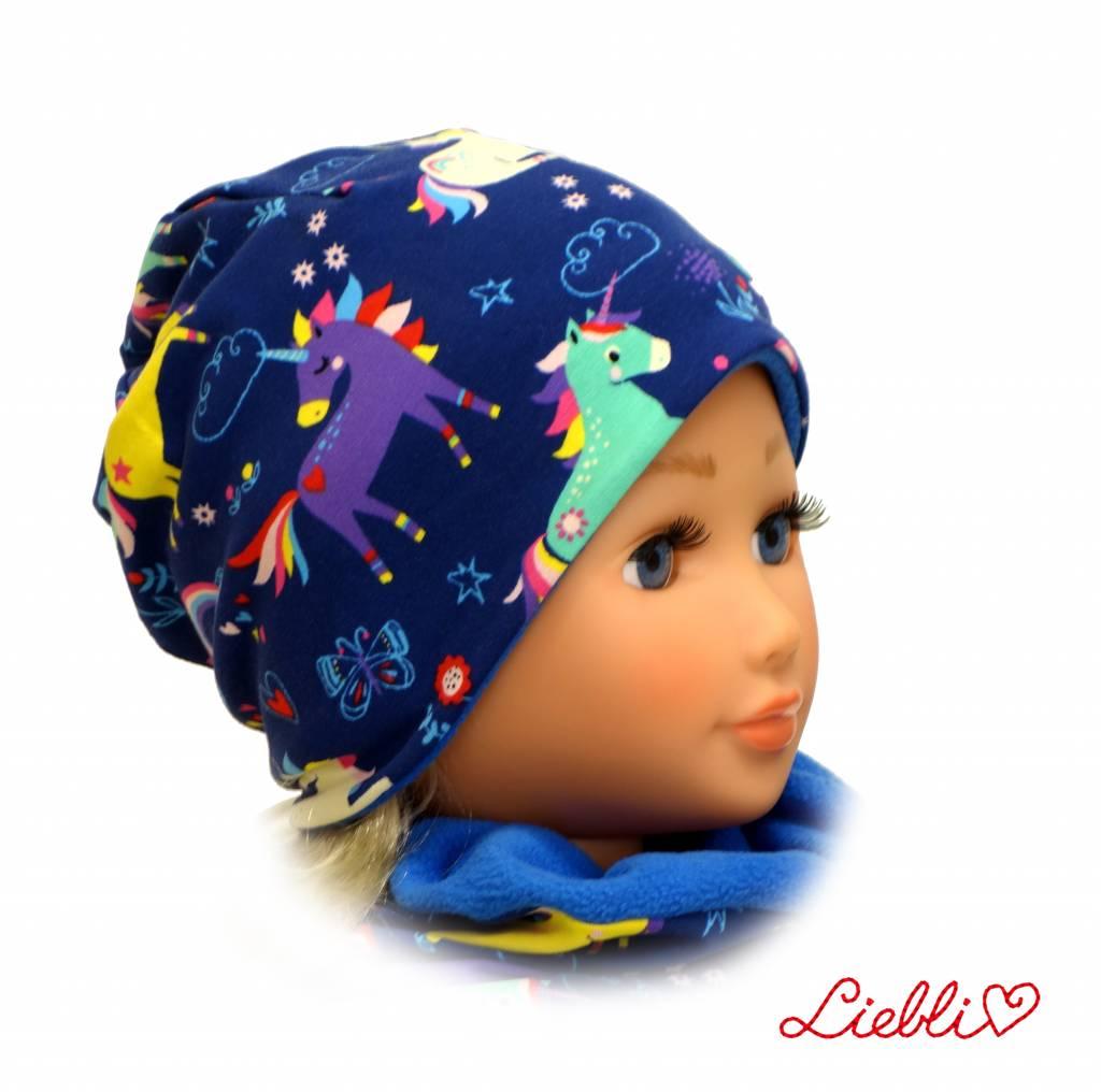 Kindermütze, Beanie Mütze, Einhörner blau, mit Baumwolle gefüttert