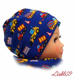 Kindermütze, Beanie Mütze, Bagger auf blau