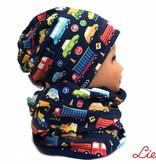 Kindermütze, Beanie Mütze, Autos auf dunkelblau, mit Baumwolle gefüttert