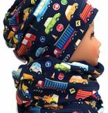 Übergangsmütze / Herbstmütze / Frühlingsmütze, Autos auf dunkelblau, für Kopfgrößen 38-56 cm
