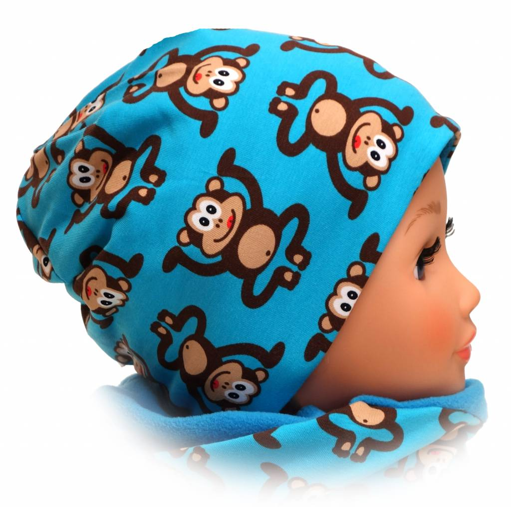 Kindermütze, Beanie Mütze mit Baumwolle gefüttert, Affen auf türkis