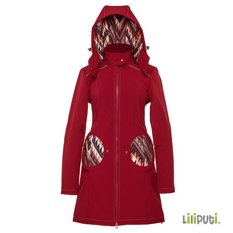 Premium 4 in 1 (!) Tragemantel von Liliputi in weinrot, für Schwangerenbauch, vorne/hinten tragen, und auch  danach. Die bunte Taschenöffnungen sind zuklappbar.
