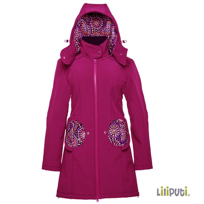 Premium 4 in 1 (!) Tragemantel von Liliputi in fuchsia, für Schwangerenbauch, vorne/hinten tragen, und auch  danach. Die bunte Taschenöffnungen sind zuklappbar.
