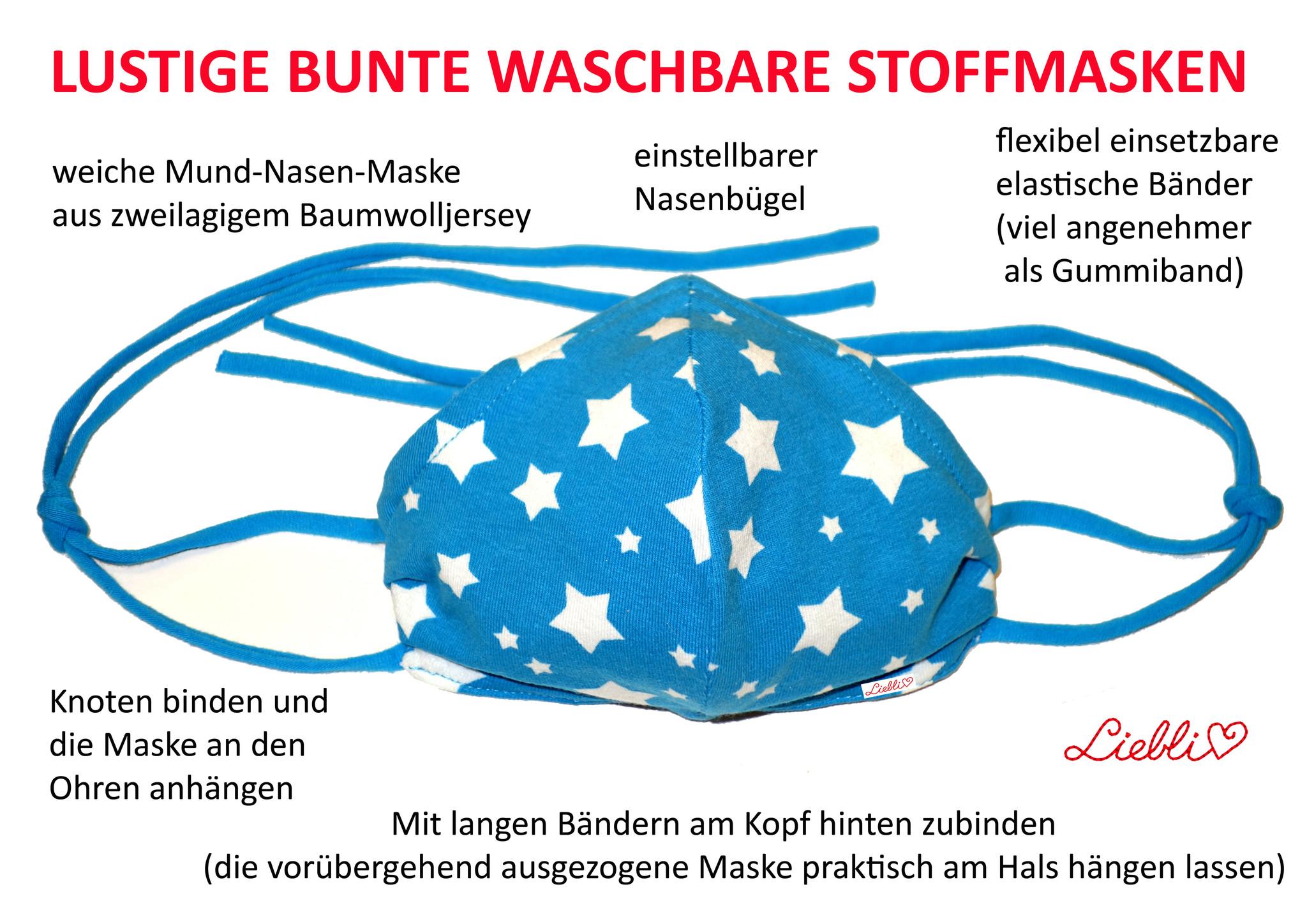 Bunte, beqieme, waschbare Stoffmasken in 200 verschiedenen Designs fair handgemacht in Wien von Liebli Kindermode