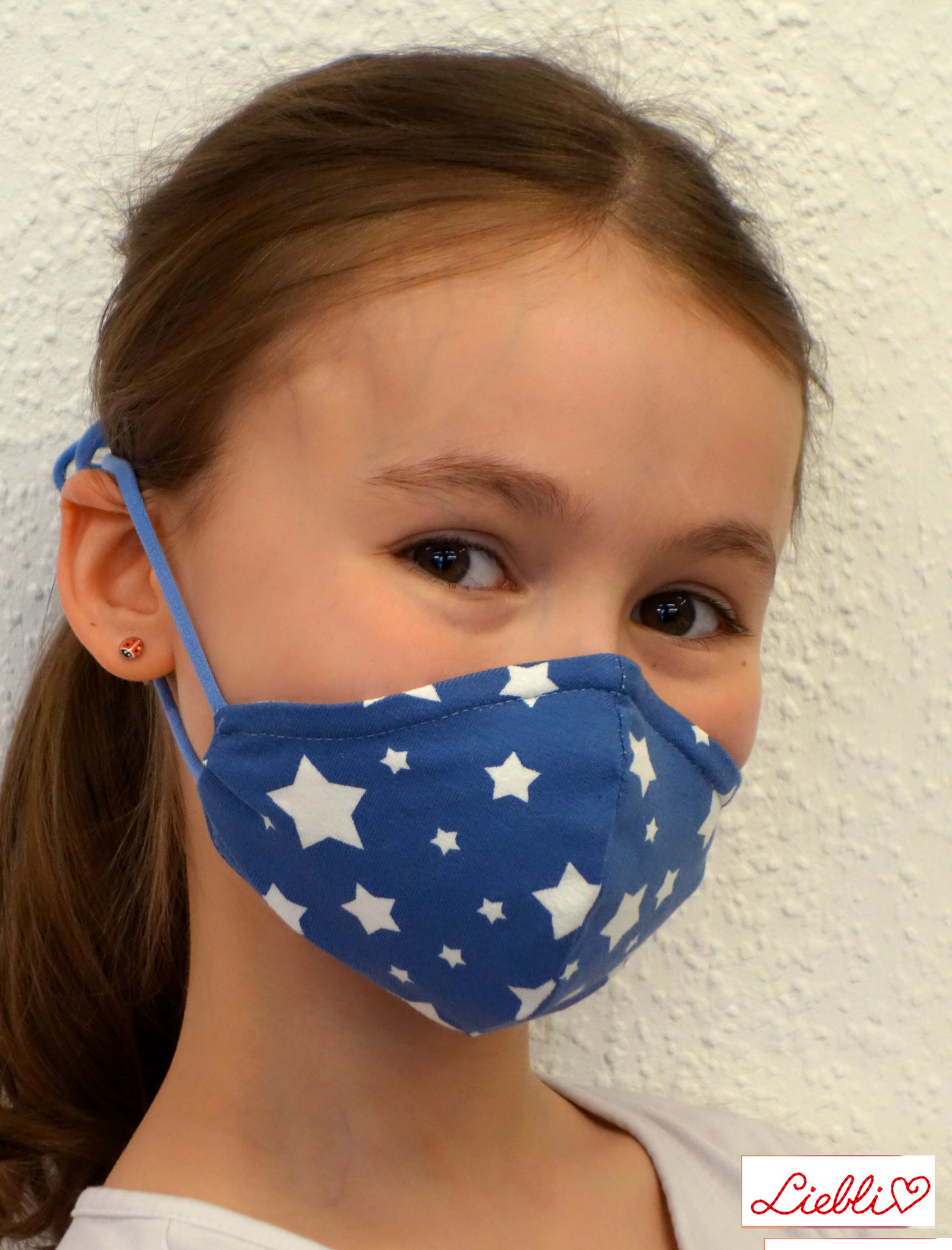 Stoffmaske, weiße Sterne auf jeansblau