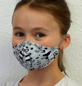 Stoffmaske, Mund-Nasen Maske, Kindermaske, Panda schwarz-weiß