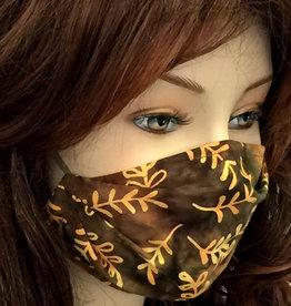 Schöne  Stoffmaske, hübsche Modemaske Blätter olivbraun-gelb