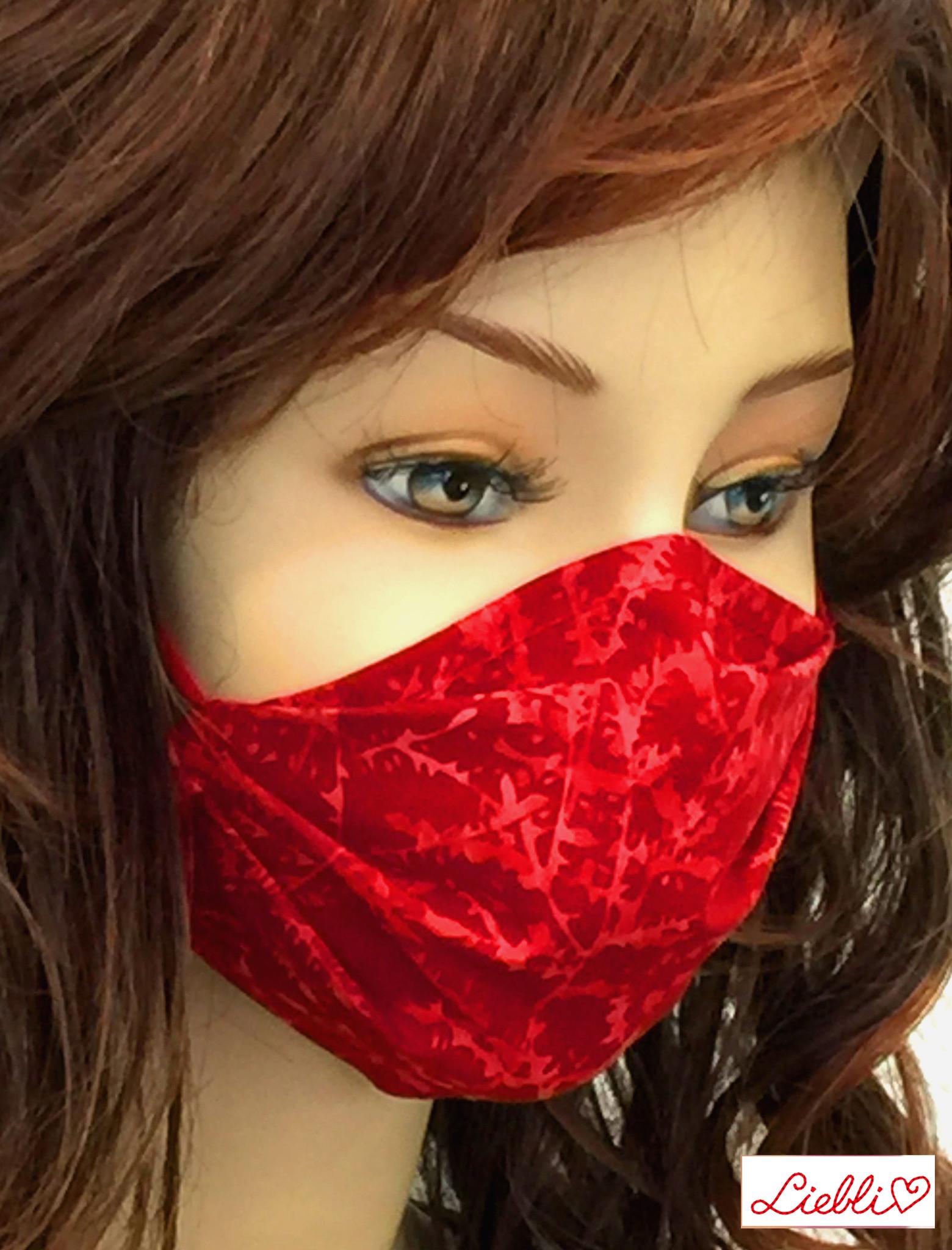 Schöne Stoffmasken / modische, elegante Maske, Mundmaske  rot