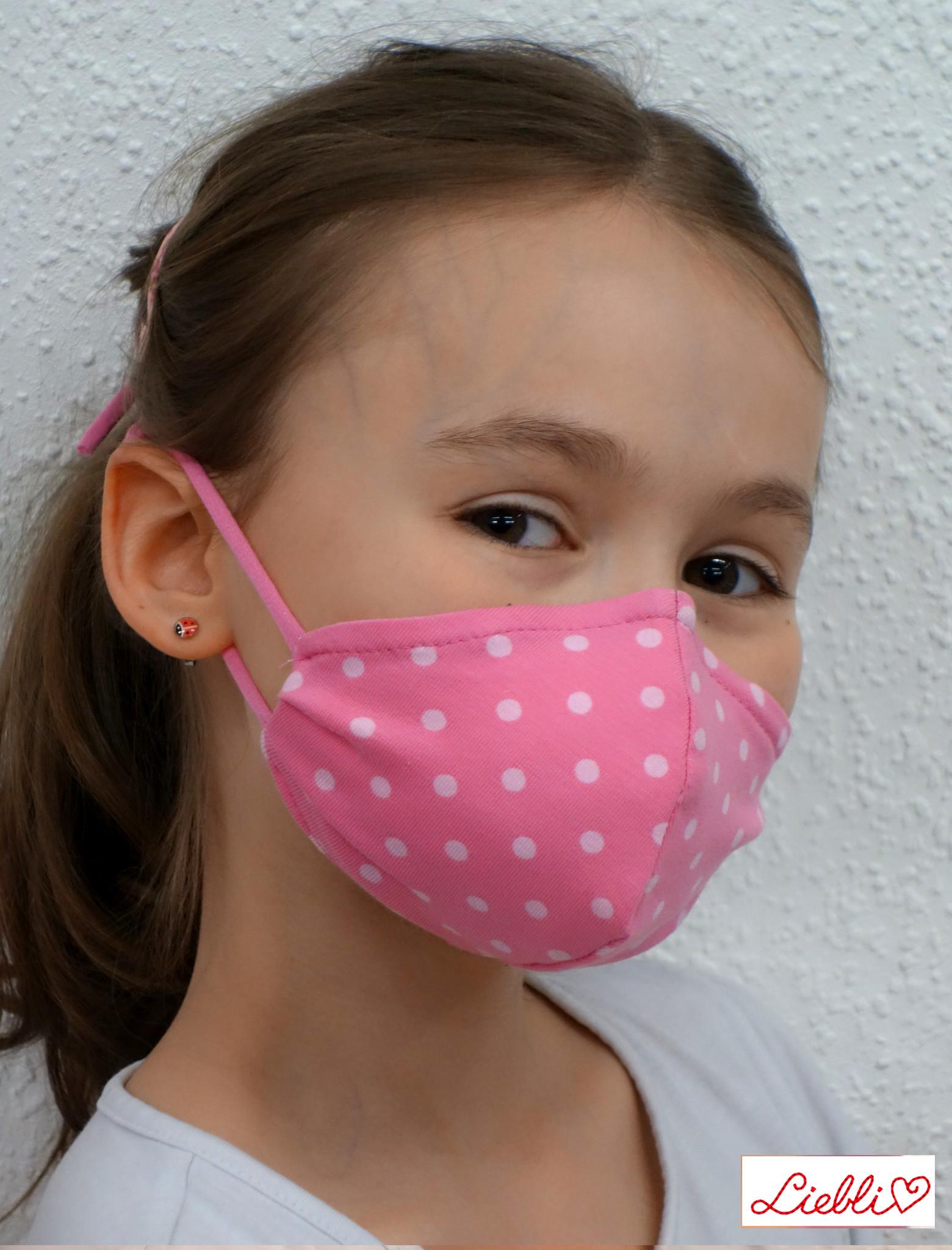 Schöne Stoffmaske, bunte Kindermaske, Punkte rosa (auch in Erwachsenen Größen)