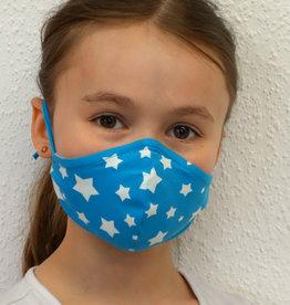Kindermaske, Stoffmaske, Mund-Maske weiße Sterne auf türkis