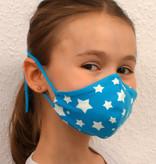 Kindermaske, Kinder Mundschutz, Mund-Nasen-Maske weiße Sterne auf türkis (auch in Erwachsenen Größen)