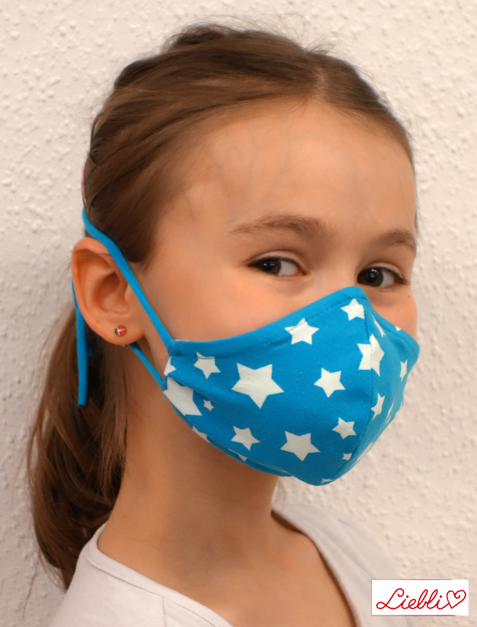 Schöne Stoffmaske, bunte Kindermaske weiße Sterne auf türkis (auch in Erwachsenen Größen)