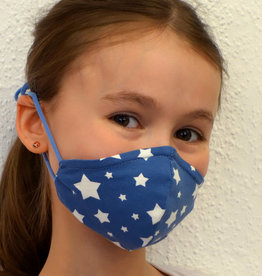Kindermaske, Kinder Mundschutz, Mund-Nasen-Maske weiße Sterne auf jeansblau