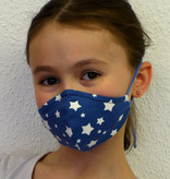 Schöne Stoffmaske, bunte Kindermaske, weiße Sterne auf jeansblau (auch in Erwachsenen Größen)