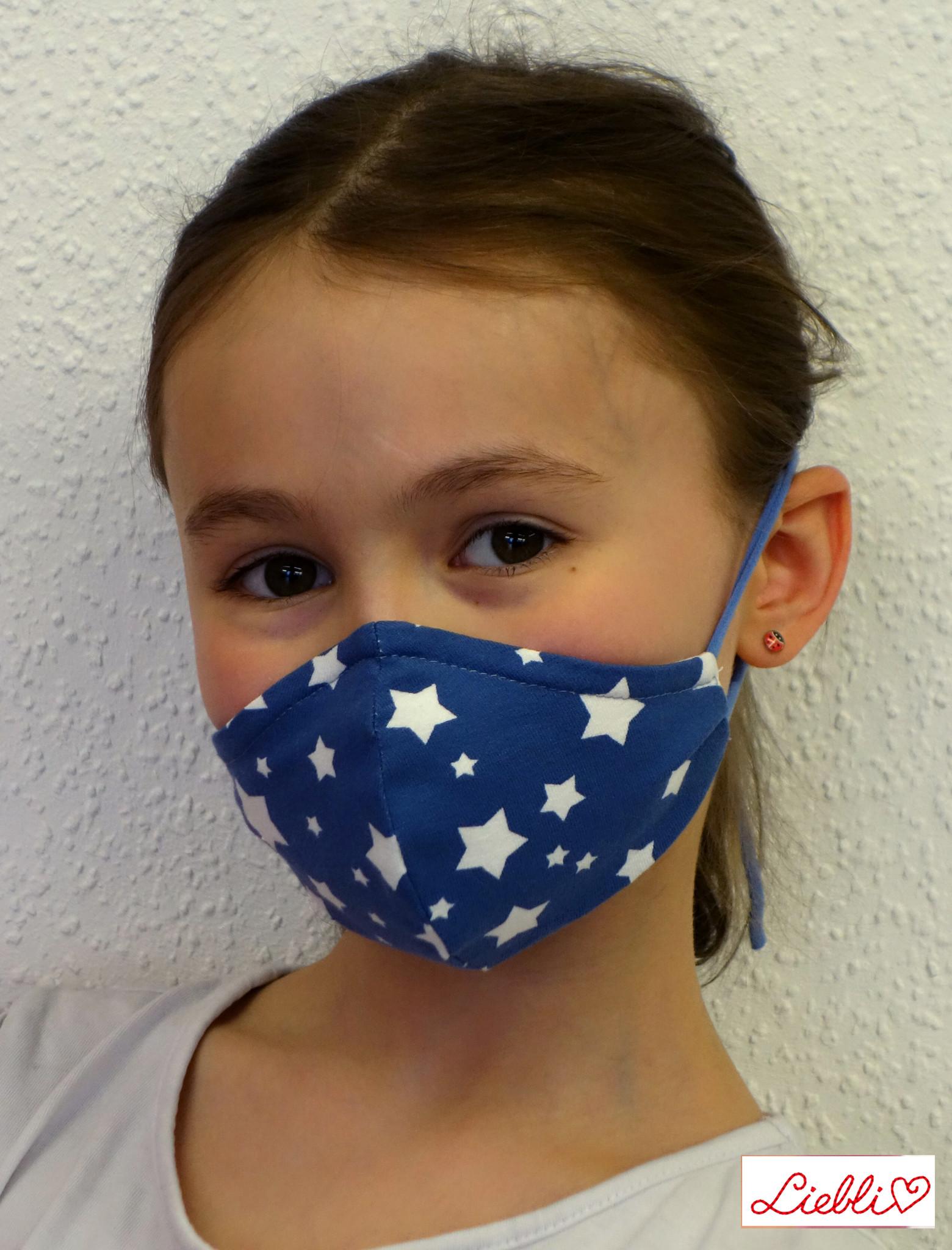 Kindermaske, Kinder Mundschutz, Mund-Nasen-Maske weiße Sterne auf jeansblau (auch in Erwachsenen Größen)