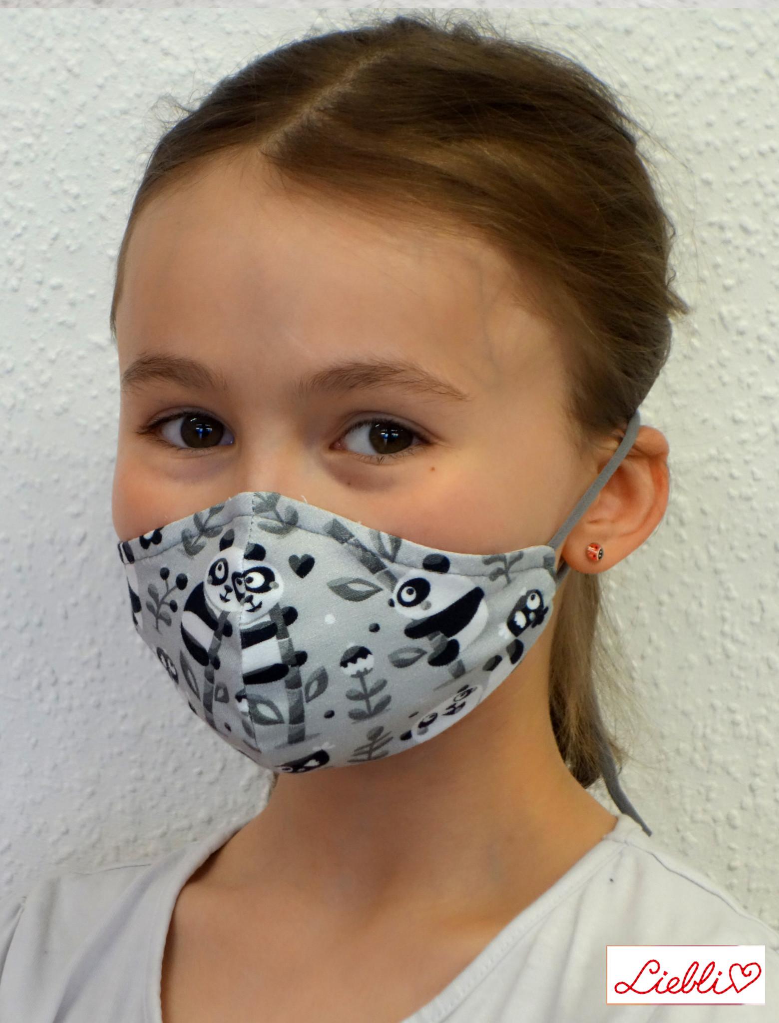 Kindermaske, Kinder Mundschutz, Mund-Nasen-Maske Panda schwarz-weiß (auch in Erwachsenen Größen)