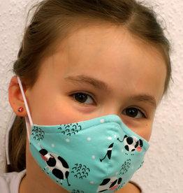 Kindermaske, Stoffmaske, Mund-Maske Kühe mint