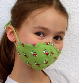 Kindermaske, Stoffmaske, Mund-Maske Marienkäfer grün
