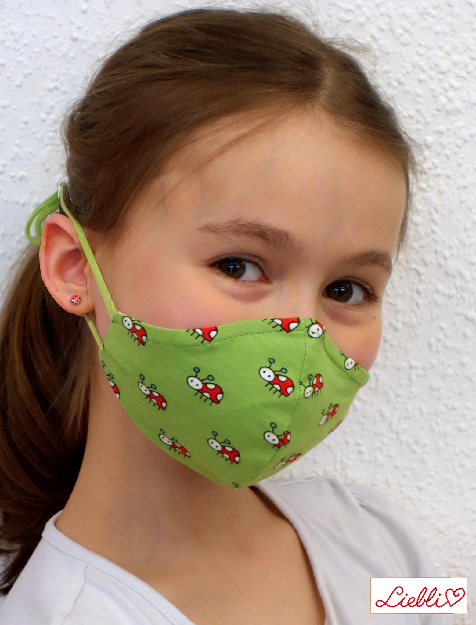 Kindermaske, Kinder Mundschutz, Mund-Nasen-Maske Marienkäfer grün (auch für Erwachsene)