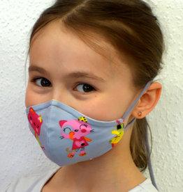 Kindermaske, Stoffmaske, Mund-Maske Katzen grau pink