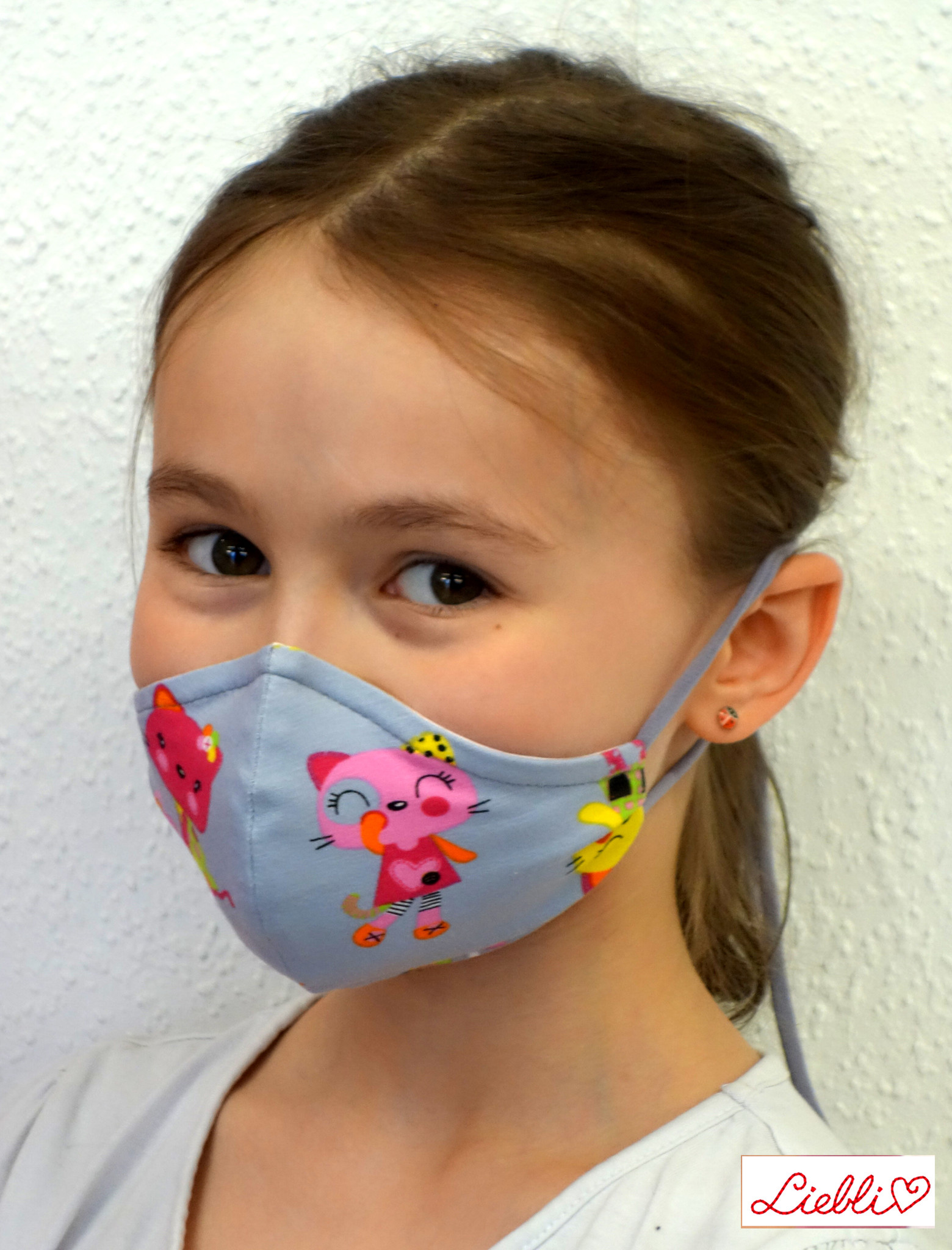 Kindermaske, Kinder Mundschutz, Mund-Nasen-Maske Katzen grau pink (auch für Erwachsene)