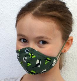 Kindermaske, Kinder Mundschutz, Mund-Nasen-Maske Dino khakigrün