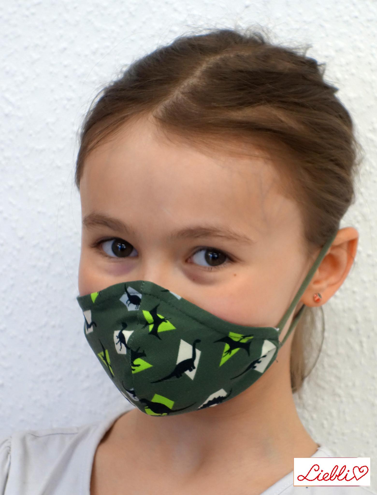 Schöne Stoffmaske, bunte Kindermaske, Dino khakigrün (auch für Erwachsene)