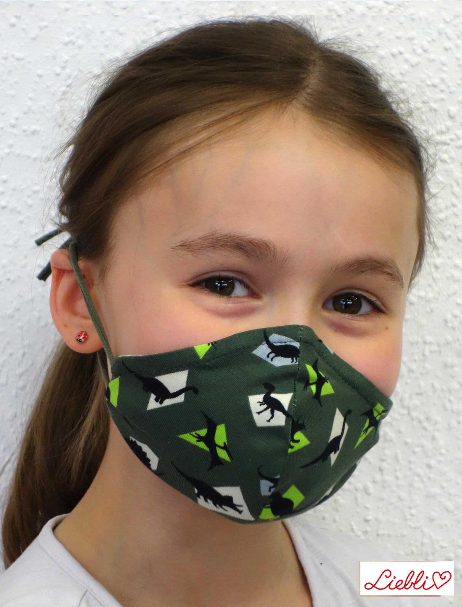 Kindermaske, Kinder Mundschutz, Mund-Nasen-Maske Dino khakigrün (auch für Erwachsene)