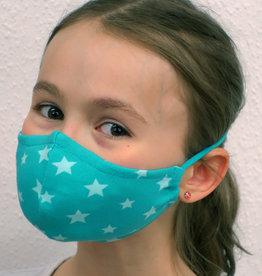 Kindermaske, Stoffmaske, Mund-Maske Sterne türkis